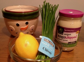 Lemon Dip Ingredients, including Vegan Mayo!