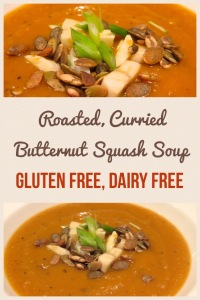 The perfect fall flavors come together in this roasted, curried butternut squash soup. It's gluten and dairy free too! Recipe and more at http://gflife247.com/2014/11/14/roasted-curried-butternut-squash-soup/.