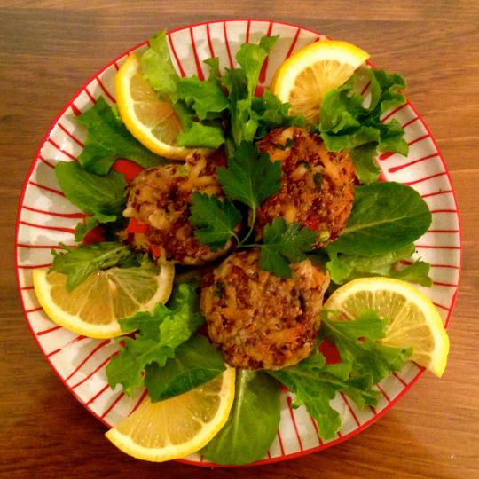 Red Quinoa Crab Cakes
