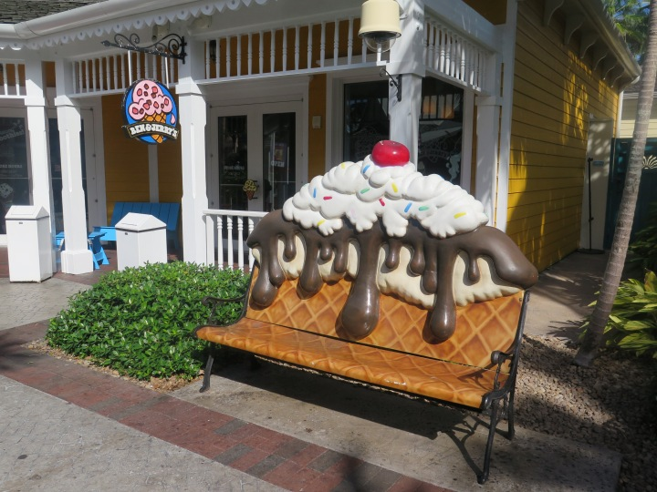 My sister loved the Ben & Jerry's shop by the marina. How cute is that bench?!