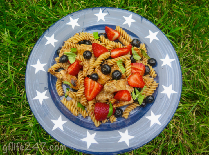 Red White and Blue Chicken Berry Pasta Salad with Strawberry Balsamic Vinaigrette