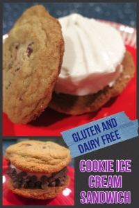 Learn to make your own cookie ice cream sandwich! Includes a delicious GF and DF chocolate chip cookie recipe! Learn more at http://gflife247.com/2015/08/27/how-to-make-a-cookie-ice-cream-sandwich-gf-df/.