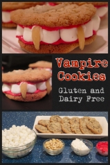 Want to add a spooky treat to your Halloween festivities?! Try these vampire cookies! They're easy to make and kid friendly. Post includes a great gluten and dairy free cookie recipe too.