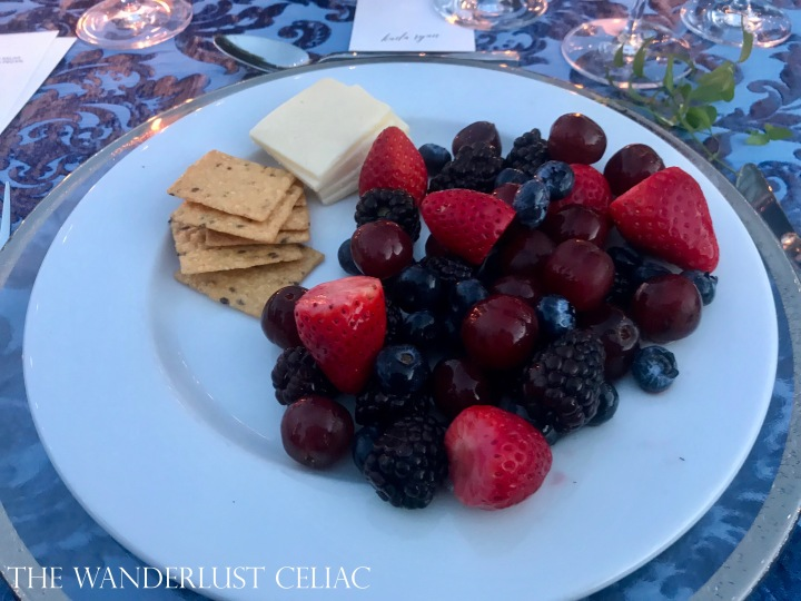 Course 2: Cheese and GF Crackers, Fruit Salad